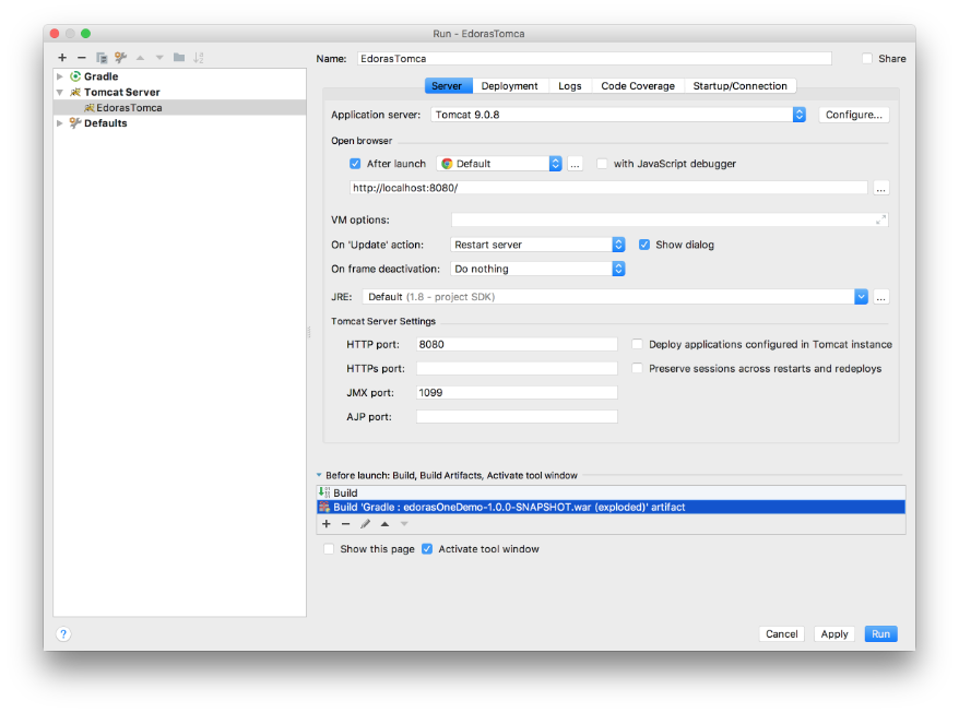 dev@cloudburo | Intellij: Gradle Project Fails To Deploy Tomcat